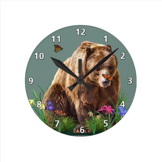 Fantasy Bear and Butterflies Customizable Round Clock