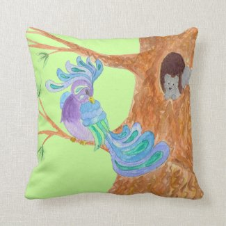 Fantasy Bird - Night & Day - Reversible Pillow