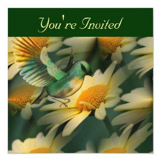 Fantasy Bird On Daisies Floral Invitation