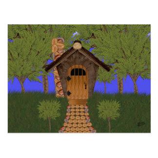 Fantasy Birdhouse Cottage with Cedar Tree Postcard