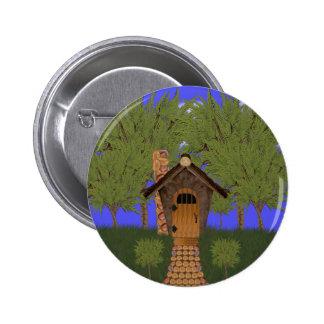Fantasy Birdhouse Cottage with Cedar Trees Button