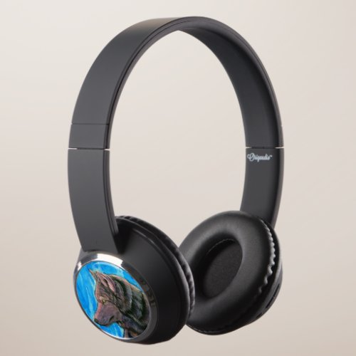 Fantasy Black and Golden Wolves Headphones