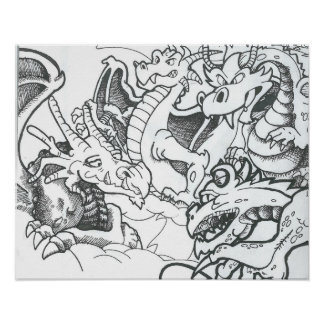Fantasy black and white drawing dragons poster
