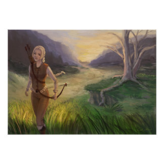 Fantasy Blonde Archer Woman With Bow Illustration Poster