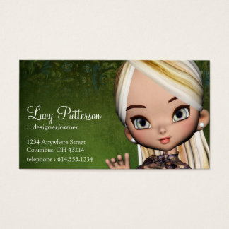 Fantasy Blonde Hair Asian Style Girl Business Card