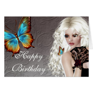 Fantasy Blonde with Butterfly Birthday Card