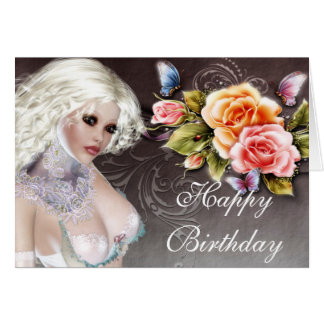Fantasy Blonde with Roses Birthday Card