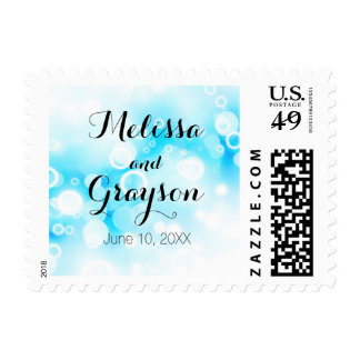 Fantasy Blue Bubbles - Postage Stamp