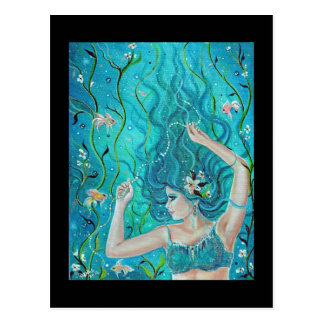 Fantasy Blue Mermaid postcard By Renee