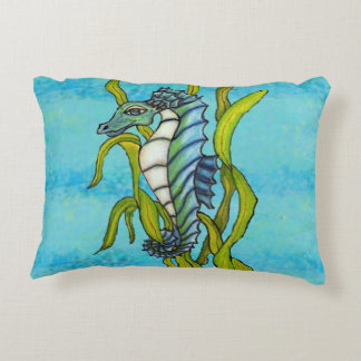 Fantasy Blue Sea Dragon Seahorse Seaweed Accent Pillow