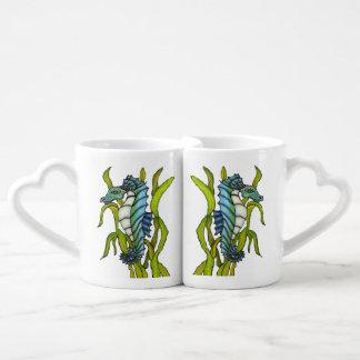 Fantasy Blue Sea Dragon Seahorse Seaweed Coffee Mug Set