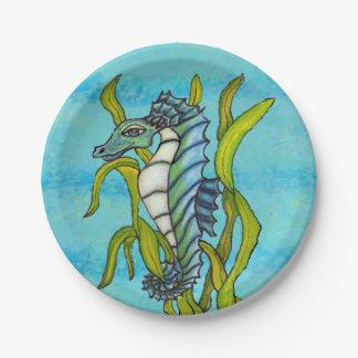 Fantasy Blue Sea Dragon Seahorse Seaweed Paper Plate