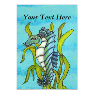 Fantasy Blue Sea Dragon Seahorse Seaweed Magnetic Invitations