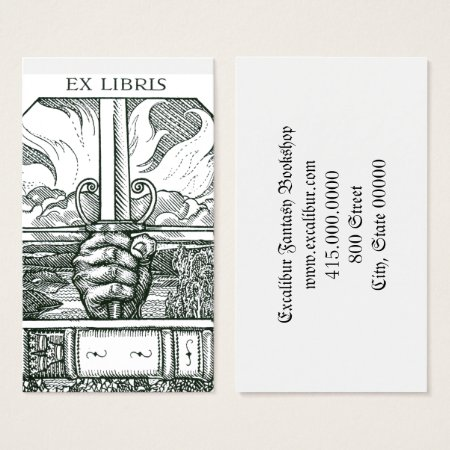 Engraved Sword and Book Bookstore Business Cards