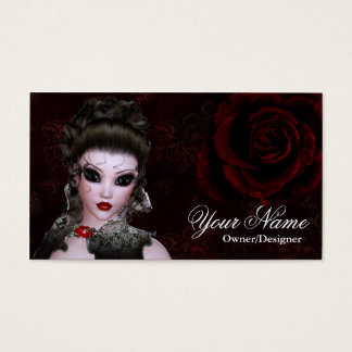 Fantasy Brunette Dark Gothic Style Business Card 2
