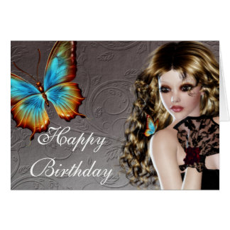 Fantasy Brunette with Butterfly Birthday Card
