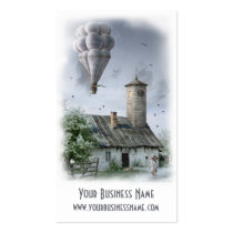 business card, profile cards, fantasy, surreal, building, house, strange, houk, digital, amazing, mood, unique, best, motivational, real estate, construction, architect, realtor, excellence, artwork, baloon, tower, businesses, Business Card with custom graphic design