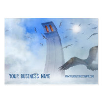 clouds, sky, birds, sea, ocean, tower, business card, profile card, travel agency, travel agent, real estate, architect, architecture, construction, vacation, leasure, surreal art, fantasy art, template, customizable, personalizable, houk, fantasy, Business Card with custom graphic design
