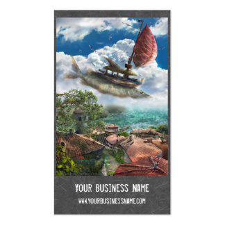 Fantasy Business Card with flying unique ship