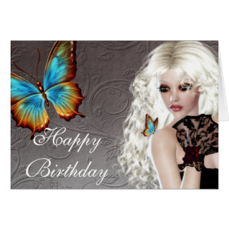 Fantasy Butterfly Blonde Woman Birthday Card