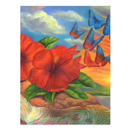 Fantasy Butterfly Landscape Painting - Multi Postcard