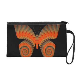 Fantasy Butterfly Orange Swirl Mandala Wristlet Clutch