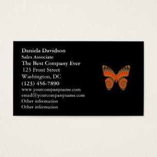 Fantasy Butterfly Orange Swirl Mandala Business Card