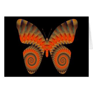 Fantasy Butterfly Orange Swirl Mandala Card