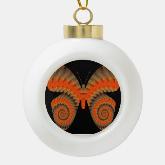 Fantasy Butterfly Orange Swirl Mandala Ceramic Ball Christmas Ornament