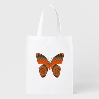 Fantasy Butterfly Orange Swirl Mandala Grocery Bag