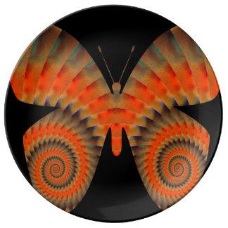 Fantasy Butterfly Orange Swirl Mandala Porcelain Plate