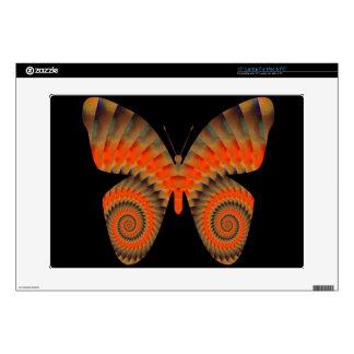 Fantasy Butterfly Orange Swirl Mandala Skin For Laptop