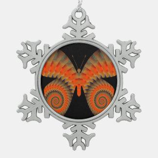 Fantasy Butterfly Orange Swirl Mandala Snowflake Pewter Christmas Ornament