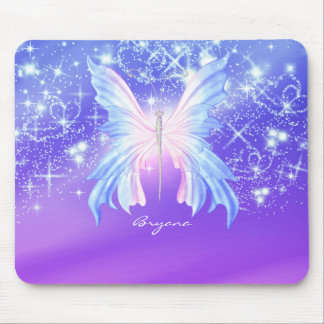 Fantasy Butterfly Pink & Purple Sparkle Mouse Pad