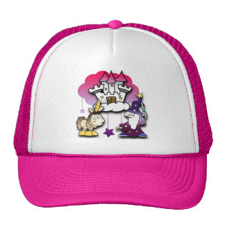 Fantasy Castle with Wizard and Unicorn Trucker Hat