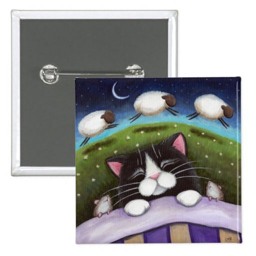 Fantasy Cat and Mouse Art Pinback Buttons