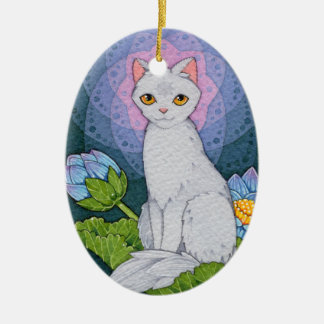Fantasy Cats Oracle Affirmation - Mindfulness Ceramic Ornament