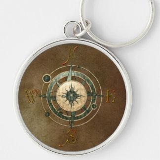 Fantasy Celtic Compass Design Silver-Colored Round Keychain