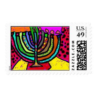 Fantasy Chanukah Menorah Stamp