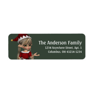 Fantasy Christmas Elf Address Label - blonde