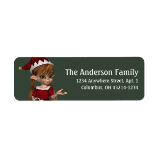 Fantasy Christmas Elf Address Label - red hair