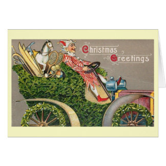 Fantasy Christmas Jester Drives the Car Vintage Card