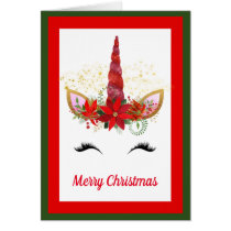 Fantasy Christmas unicorn add message card