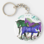 Fantasy colored horses in flowers graphic design basic round button keychain
