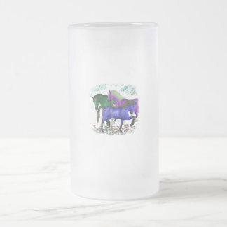 Fantasy colored horses in flowers graphic design 16 oz frosted glass beer mug