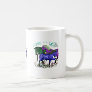 Fantasy colored horses in flowers graphic design classic white coffee mug