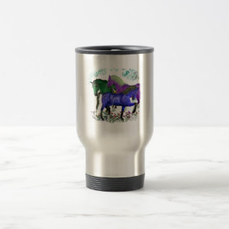 Fantasy colored horses in flowers graphic design 15 oz stainless steel travel mug