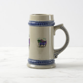 Fantasy colored horses in flowers graphic design 18 oz beer stein