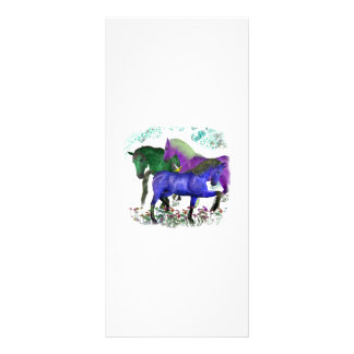 Fantasy colored horses in flowers graphic design rack card