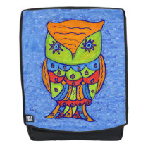 Fantasy Colorful Abstract Owl Star Eyes on Blue Backpack